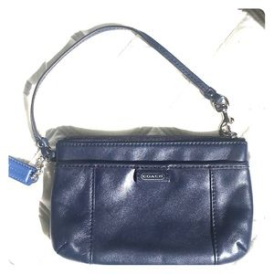 Coach navy blue wristlet.